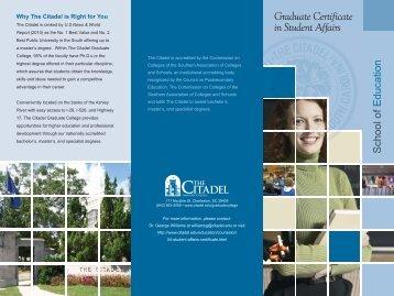 Graduate Certificate in Student Affairs - The Citadel
