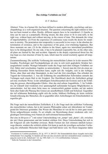 Das richtige Verhältnis zur Zeit* O. F. Bollnow Abstract: Time, in a ...