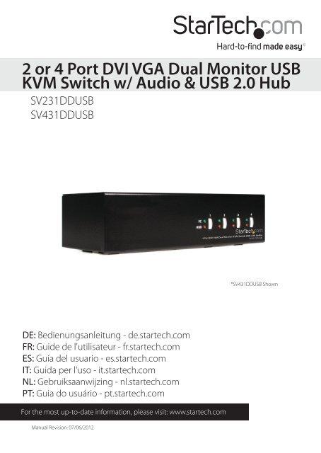2 or 4 Port DVI VGA Dual Monitor USB KVM Switch w - StarTech com