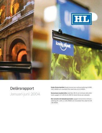 Delårsrapport Januari-juni 2004 - HL Display