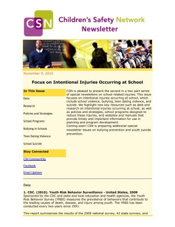 Focus on Intentional Injuries Occurring at School - Children's Safety ...