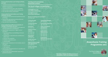 Anaesthesia Training Programme 2012 - The Royal College of ...