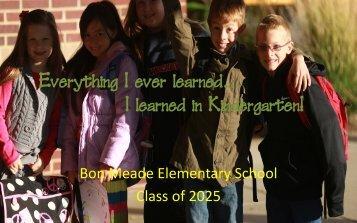 I learned in Kindergarten - Moon Area School District