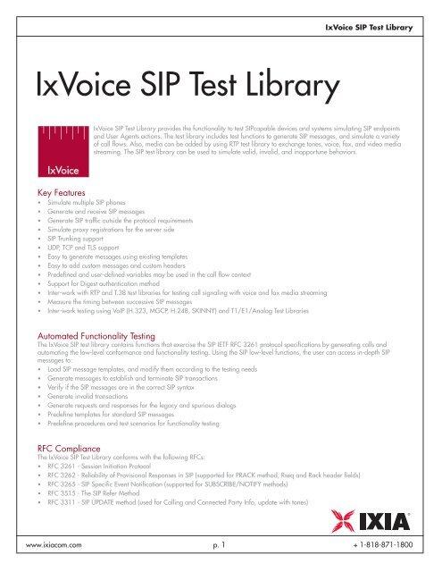 IxVoice SIP Test Library - Ixia