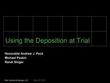 Using the Deposition at Trial