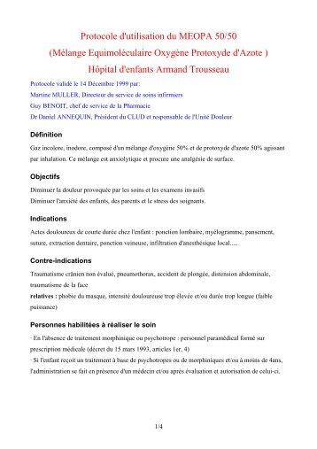 Protocole d'utilisation du MEOPA 50/50 (Mélange ... - CNRD
