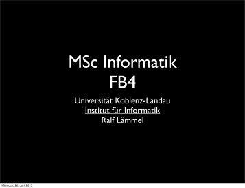 Universität Koblenz-Landau Institut für Informatik Ralf Lämmel