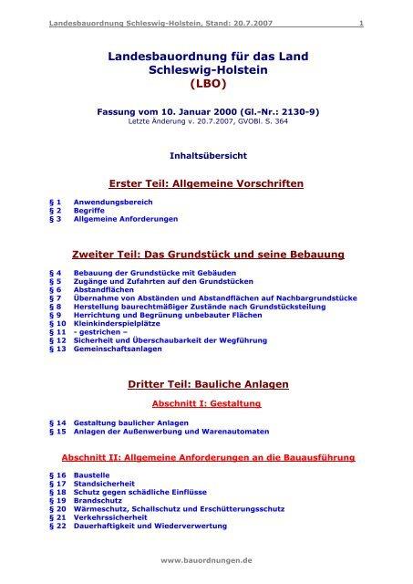 Landesbauordnung Fur Das Land Schleswig Holstein Lbo