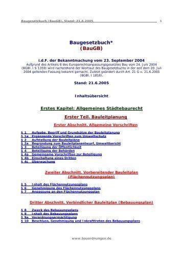 Baugesetzbuch* (Baugb)