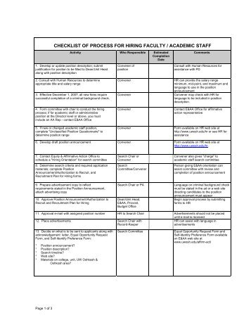 checklist of process for hiring faculty / academic staff