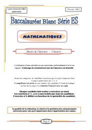 T ES Bac Blanc Fév2012 - Lycée Léonard de Vinci