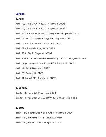 Car list: