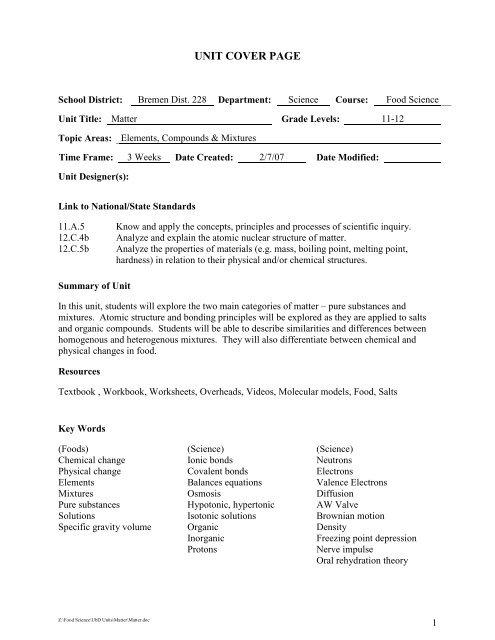 Unit V: Matter - Bremen High School District 228 / Overview