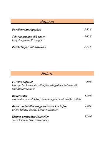 Salate Suppen - Forellenhof