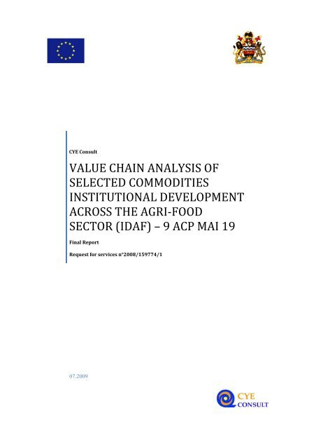 value chain analysis of selected commodities institutional