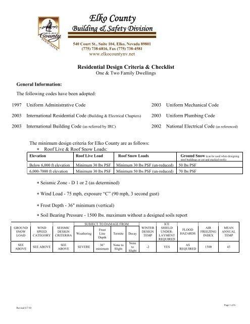 Residential Design Criteria Checklist Elko County