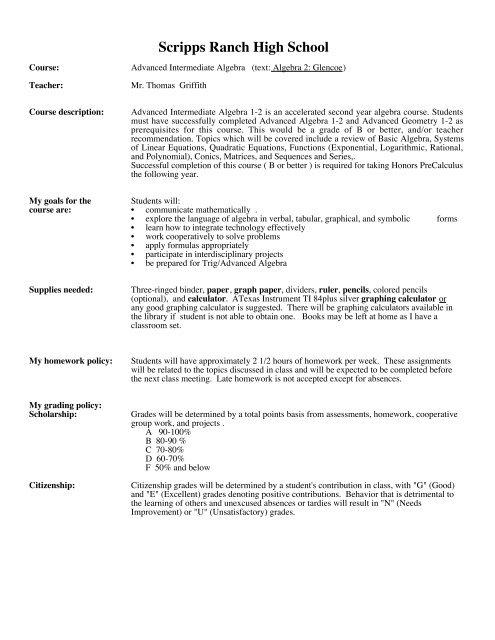 adv int alg syllabus pdf - Scripps Ranch High School
