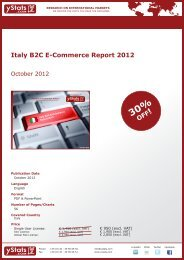 Italy B2C E-Commerce Report 2012 - yStats.com