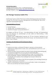 Eigendarstellung der Thüringer Tourismus GmbH - Thüringen ...