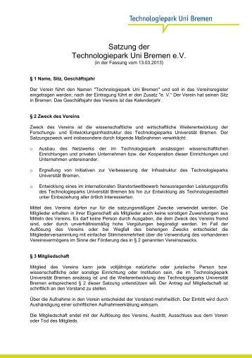 Satzung der Technologiepark Uni Bremen e.V.