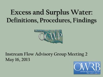 Excess and Surplus Water: Definitions, Procedures, Findings