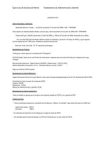 Ejercicios de Declaración Renta Fundamentos de ... - Ecobachillerato