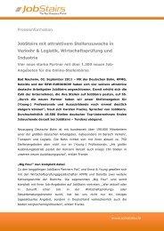 JobStairs mit attraktivem Stellenzuwachs in Verkehr & Logistik ...