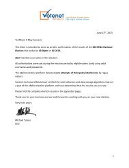 This letter is intended to serve as written confirmation of the results ...