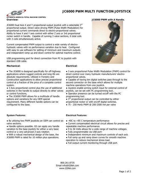 JC6000 PWM MULTI FUNCTION JOYSTICK - GS North America