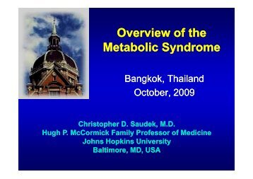 Overview of the Metabolic Syndrome