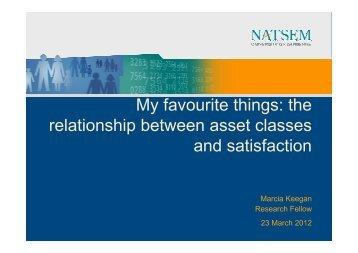 the relationship between asset classes and satisfaction - NATSEM