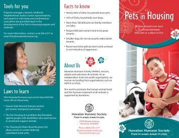 Pets in Housing Brochure - Hawaiian Humane Society