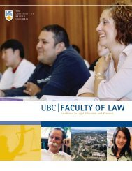 Excellence in Legal Education and Research - University of British ...