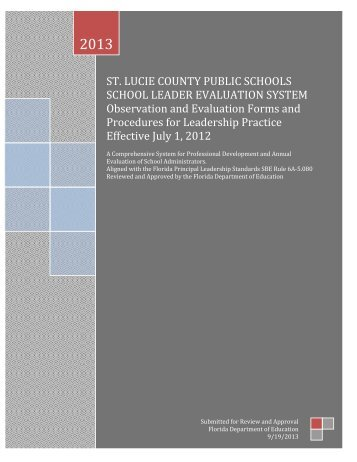 Florida School Leader Assessment - St. Lucie County School Board