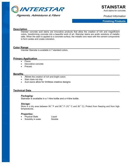 acid stain tech sheet pdf - Northland Construction Supplies