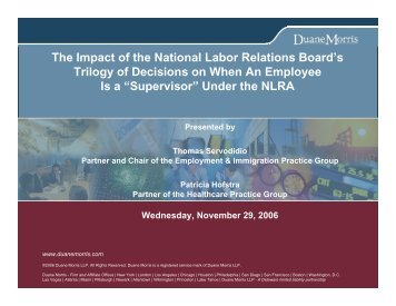 The Impact of the National Labor Relations ... - Duane Morris LLP