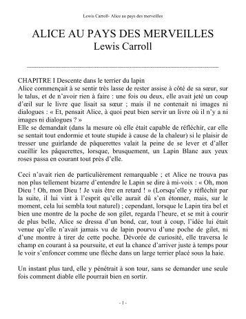ALICE AU PAYS DES MERVEILLES - 1S2 - lambert