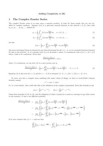 Complex Fourier Series and Fourier Transform