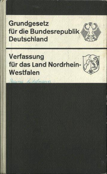1965 - Grundgesetz für die Bundesrepublik Deutschland (BRD) - Verfassung für das Land Nordrhein-Westfalen (NRW)