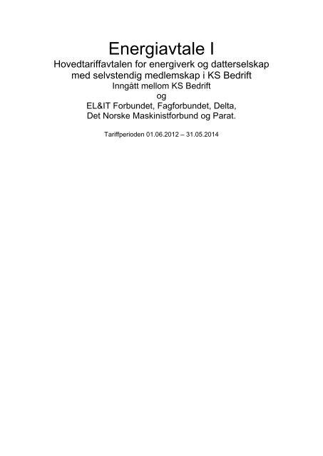 KS Bedrift Energiavtalen 2012-2014 - El og it forbundet