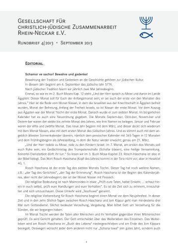 Rundbrief 4, September 2013 - Gesellschaft für Christlich-Jüdische ...