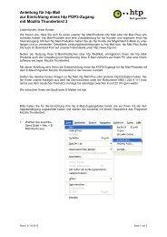 Anleitung für htp Mail zur Einrichtung eines htp POP3-Zugang mit ...