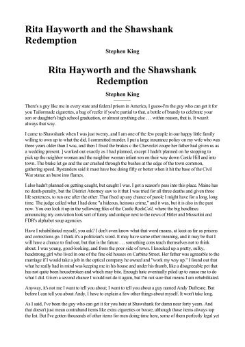 Rita Hayworth and the Shawshank Redemption Rita Hayworth and ...