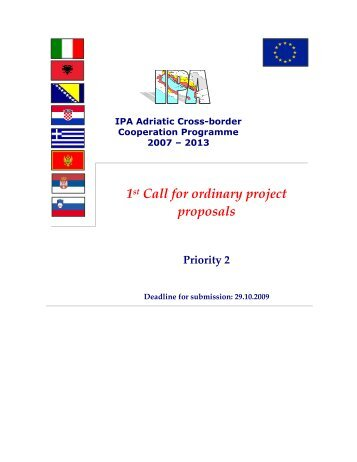 2nd Call For Ordinary Projects Proposals Ipa Adriatic Cross Border