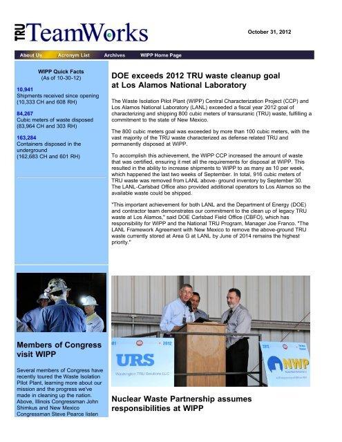 October 31 - Waste Isolation Pilot Plant - U.S. Department of Energy