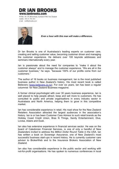 Ian's Biopgraphy - Dr Ian Brooks