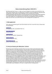 Datenschutzerklärung (Stand: 06.06.2011) I. Geltungsbereich II - HSV