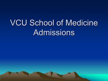 VCU School of Medicine Admissions