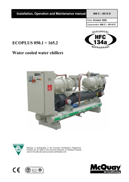 ECOPLUS 050 1 165 2 W Ater Cooled Water Chillers McQuay