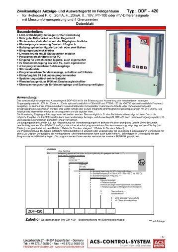 und Auswertegerät im Feldgehäuse Typ: DDF – 420 - ACS ...